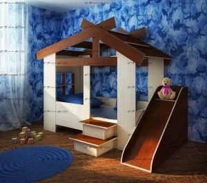 Кровать-домик Фанки Кидз 13/64 СВ + горка (80х170) (закругленные верхние края крыши)