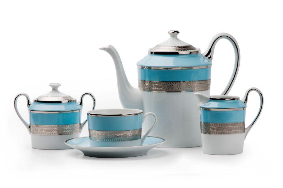 Чайный сервиз на 6 персон Monaco Bleu Turquoise (Mimosa), 15 пр.