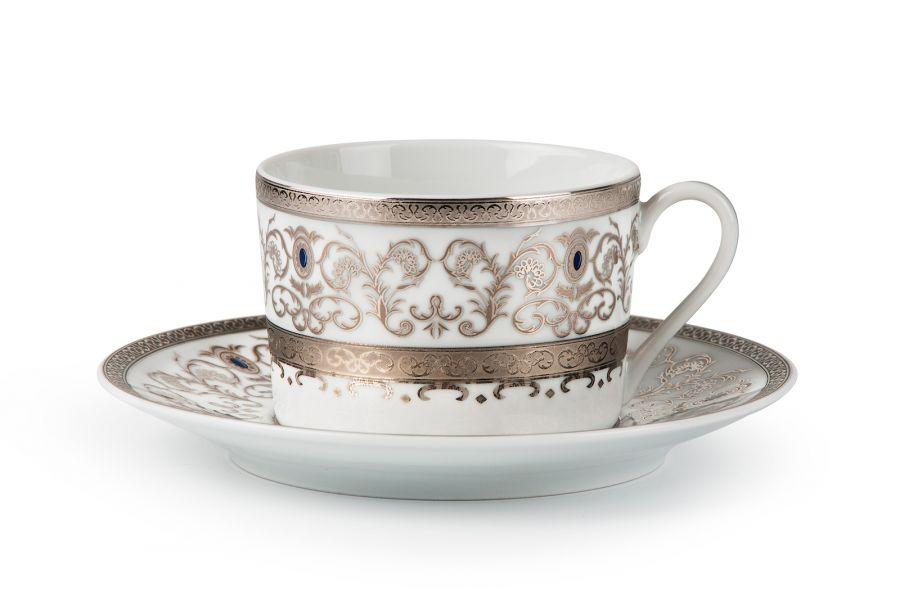Чайный набор на 6 персон Prague Platine (Mimosa), 220 мл, 12 пр.