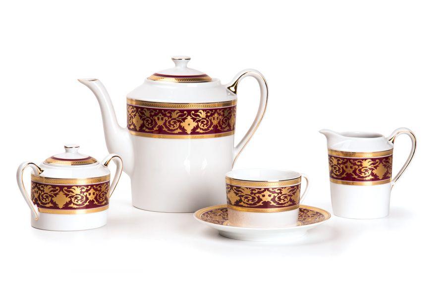 Чайный сервиз на 6 персон Ramses Bordeaux (Mimosa), 15 пр.