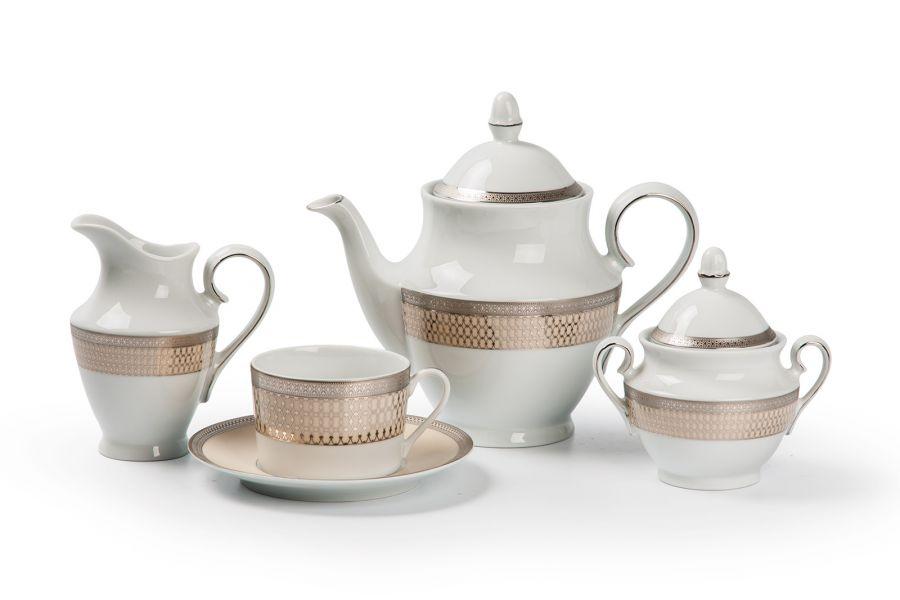 Чайный сервиз на 6 персон Victoir Platine (Tanit), 15 пр.