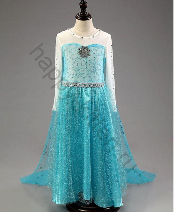 Карнавальный костюм платье Эльзы роста 100 - 140  см