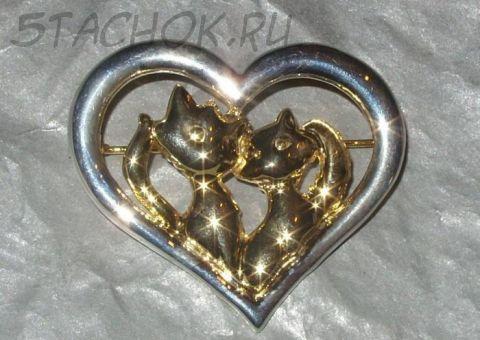 """Брошь """"Влюбленные котики"""" под золото и серебро"""