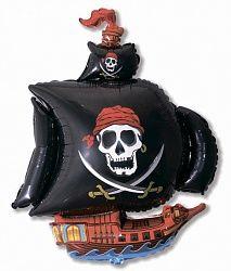 Шар (41''/104 см) Фигура, Пиратский корабль, Черный