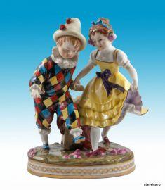Мальчик арлекин и девочка. Volkstedt, Германия. ок. 1895 г., артикул 00208
