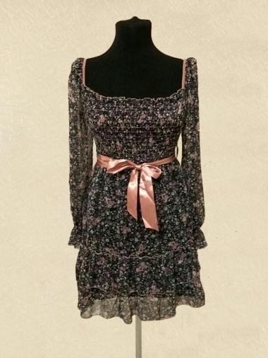Легкое шифоновое платье с длинным рукавом