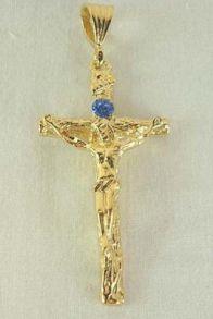 Крупный позолоченный мужской крест с цирконием для широкой цепочки