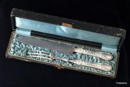 """Набор для мяса """"Фазан"""", столовое серебро, Франция. кон. 19в."""