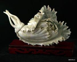 """Камень """"Капуста"""", нефрит, Китай"""
