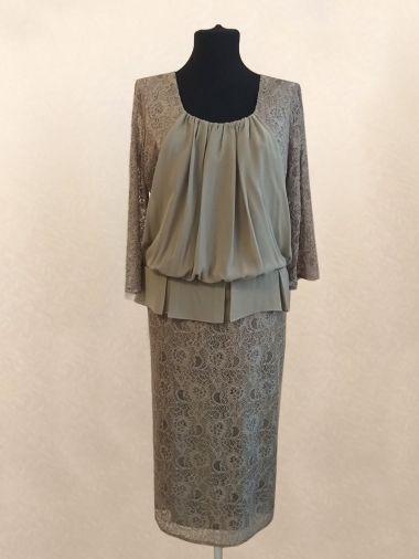 Платье прямого силуэта из сочетания гипюра и шифона