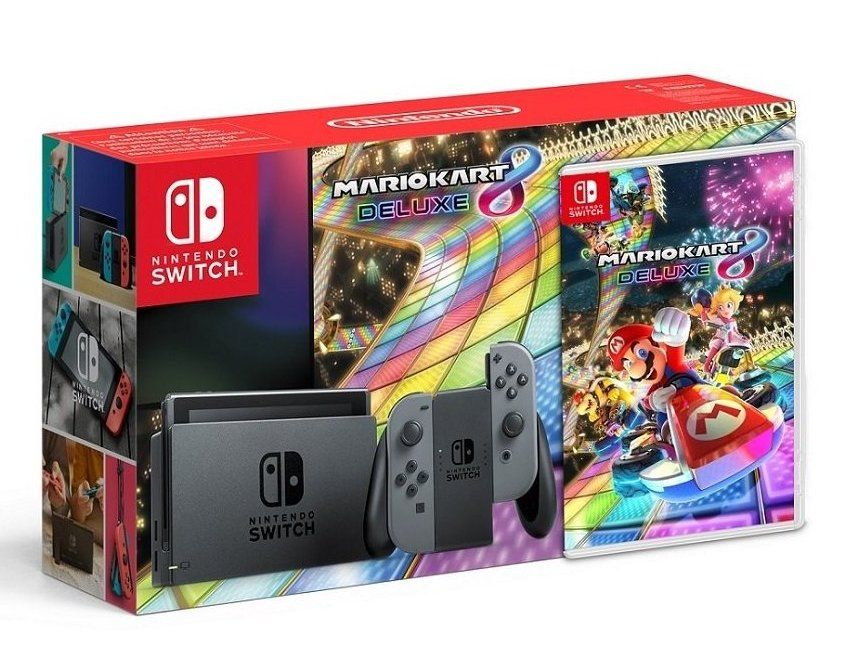 Игровая приставка Nintendo Switch (Grey) + Mario Kart 8