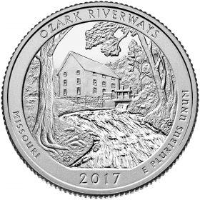 Национальный парк Озарк(The Ozark National Scenic Riverways) 25 центов США 2017 Монетный Двор S