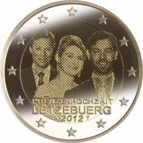 Свадьба наследного Великого герцога Люксембурга Гийома и графини Стефании де Ланнуа 2 евро Люксембург 2012