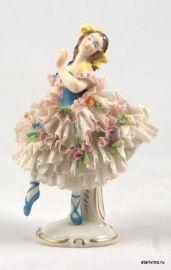 Балерина-кружевница в пышном платье, Volkstedt, Германия, 1950-60 гг.