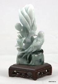"""Ручная резьба по камню, """"Феникс и цветок лотоса"""", нефрит, Китай"""