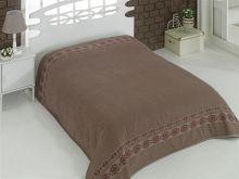 """Простыня махровая """"KARNA"""" REBEKA 200x220 см (коричневая) Арт.2655-5"""