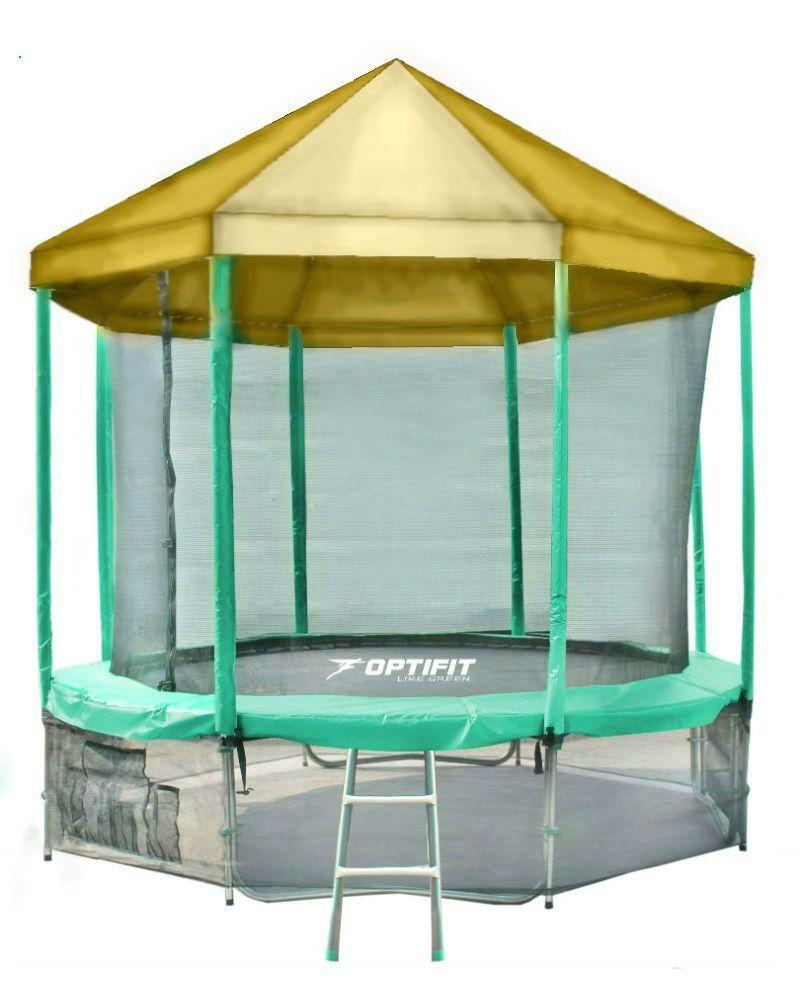 Батут с внутренней защитной сеткой и желтой крышей - Optifit Like Green 16 FT (4,88м)