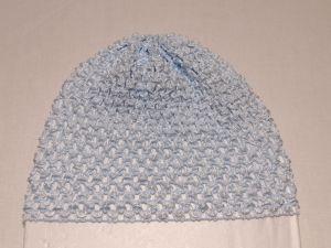 Шапка ажурная, 14*15 см, цвет №23 голубой (1 уп = 6 шт)