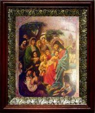 Иисус Христос и дети (19х22), темный киот