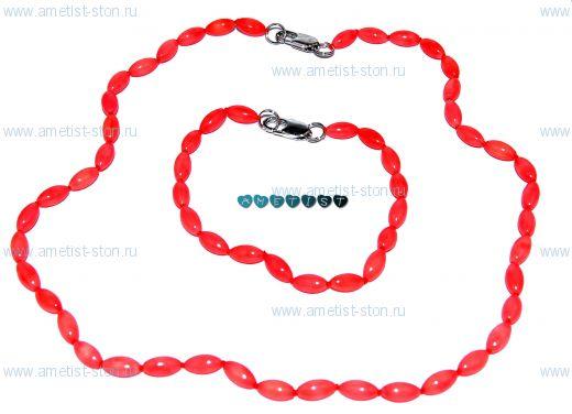 """Бусы и браслет из коралла розового натурального в комплекте """"Жасмин"""""""