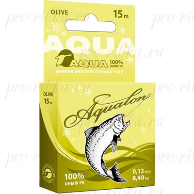 Плетеный шнур AQUA Aqualon Olive 15m d=0,18mm