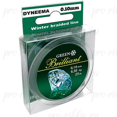 Плетеный шнур AQUA Green Brilliant 25m d=0,25mm
