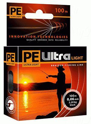 Плетеный шнур AQUA PE ULTRA Light  100m black, 0.12mm