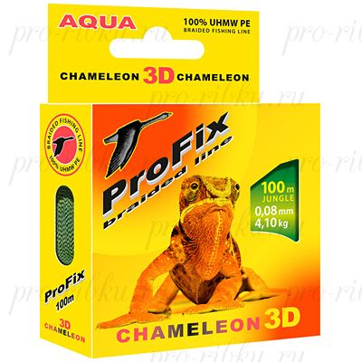Плетеный шнур AQUA PROFIX Chameleon 3D 100m jungle, 0.12mm