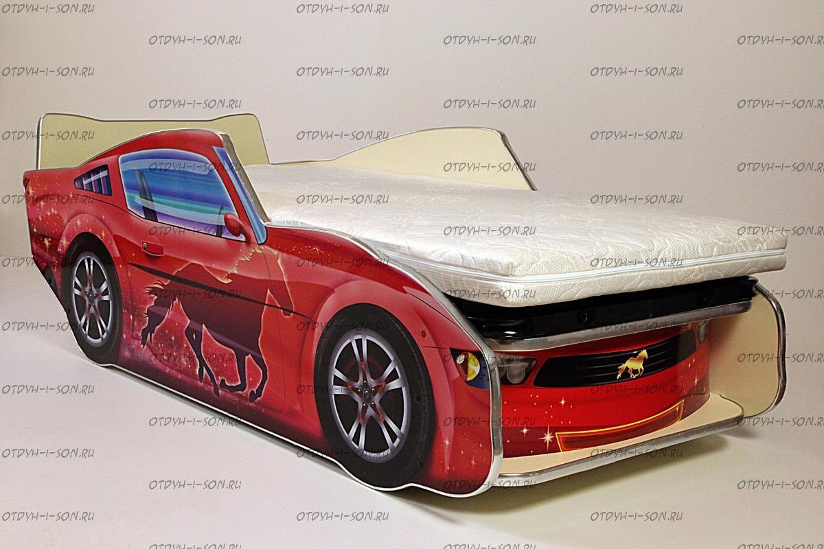 Кровать-машина Мустанг с ПО Вивера (70Х170)