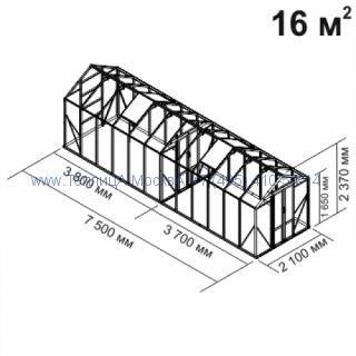 Стеклянная теплица Botanik Mini 16 кв.м с перегородкой алюминиевая, покрытие - монолитный поликарбонат Polygal 6 мм на крыше и 4 мм на стенках