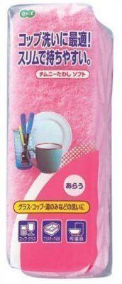 050299 Губка для мытья посуды (двухслойная, узкая, верхний слой сред. жесткости 1шт/упак