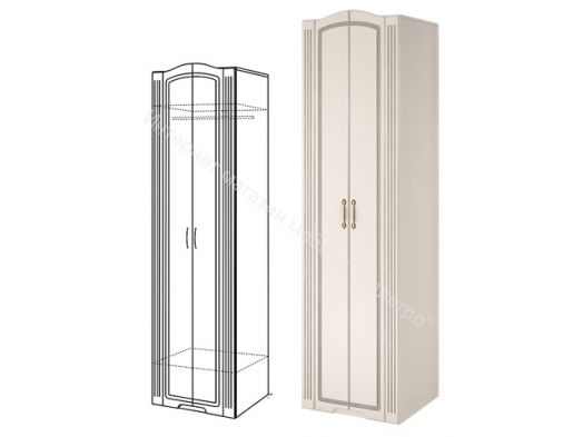 Шкаф для одежды (2-х дверный) Виктория  Белый глянец