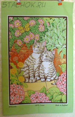"""Коллекционное полотенце-панно """"Две кошечки с цветами"""""""