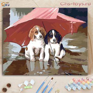 Картина по номерам Два щенка E130
