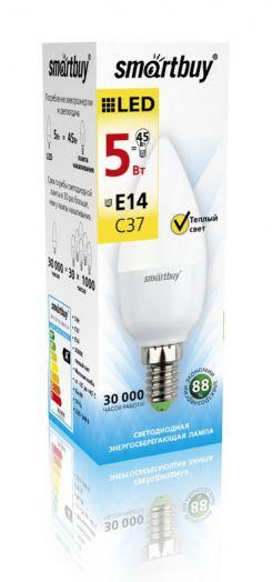 Светодиодная (LED) Лампа Smartbuy-C37-05W/3000/E14