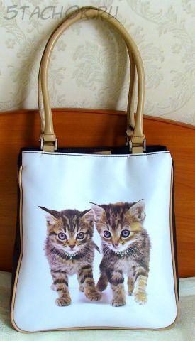 """Сумка женская """"Два котенка с ожерельем"""""""