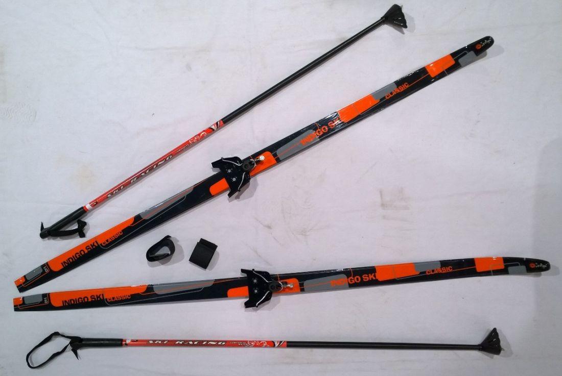 Лыжный комплект полупластик INDIGO CLASSIC с палками 1,4м