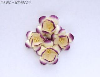 Цветы сакуры бело-фиолетовые 4 см