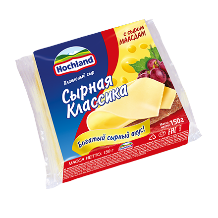 Сыр Хохланд 150г 48% Маасдам нарезка