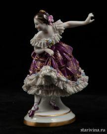 Балерина-кружевница в сиреневом платье, Volkstedt, Германия, 1915-34 гг