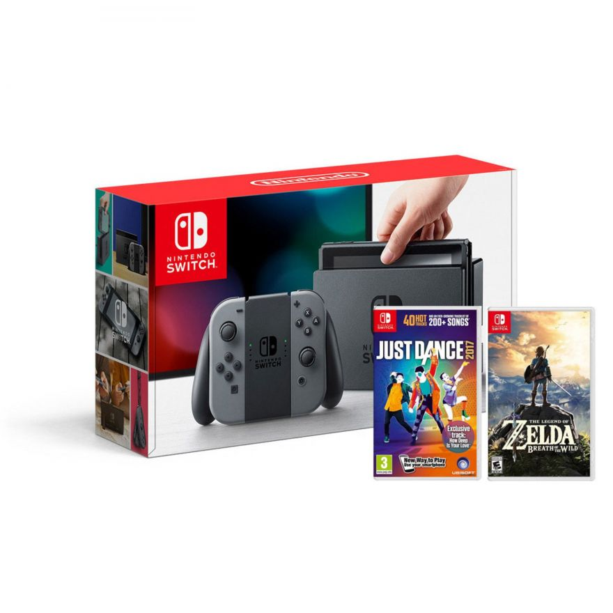 Игровая приставка Nintendo Switch (Grey) + Just Dance 2017 + The Legend of Zelda