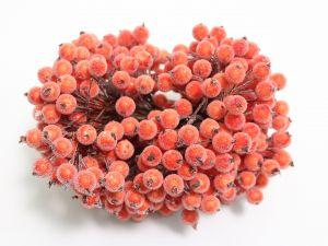 Ягоды в сахарной обсыпке 12 мм (длина 16см), цвет алый, 1 уп = 400 ягодок