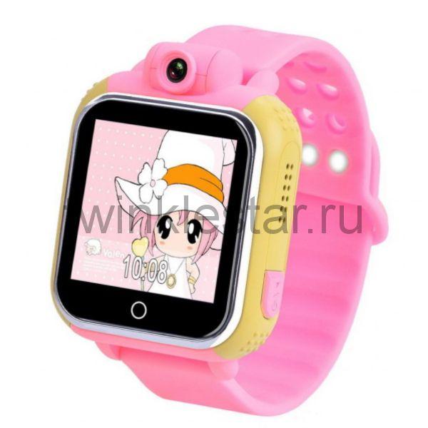 Умные детские часы с GPS Smart Baby Watch GW1000 (G75) желто-розовые
