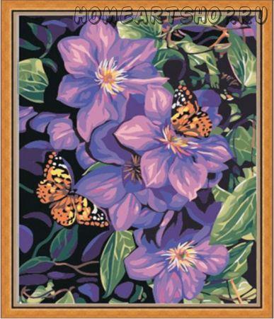 """Раскраска по номерам """"Бабочки в лиловом"""" 40х50"""
