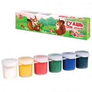 "Гуашь ЛУЧ ""Zoo"", 6 цветов по 15 мл, блок-тара, без кисти, картонная упаковка, 19С 1250-08"
