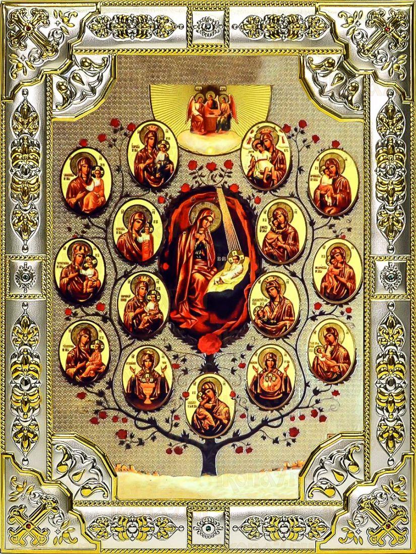 Древо Пресвятой Богородицы (Горний Иерусалим) (18х24), серебро