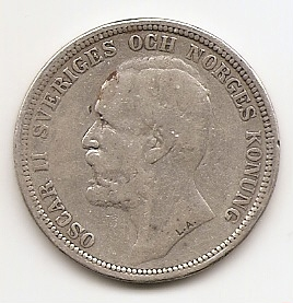 Оскар II 2 кроны Швеция 1890 Регулярный выпуск
