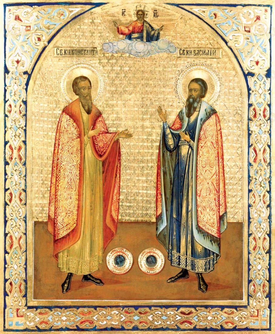 Икона Василий и Константин Ярославские (копия 19 века)