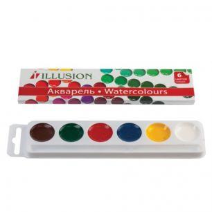 """Краски акварельные ГАММА """"Illusion"""", 6 цветов, медовые, без кисти, картонная коробка, 212085,10-1006"""