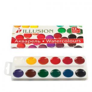 """Краски акварельные ГАММА """"Illusion"""", 12 цветов, медовые, без кисти, картонная коробка, 212086,10-1012"""